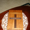 Angie's Bible Box<br /> Built Feb 2009<br /> Made from cherry wood with a wenge cross inlay. Dovetails are used for the corner joints.