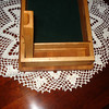 Hidden compartment<br /> <br /> Angie's Bible Box<br /> Built Feb 2009<br /> Made from cherry wood with a wenge cross inlay. Dovetails are used for the corner joints.
